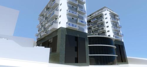 Infografias fotorealisticas de edificio de  viviendas, y centro comercial con acabados de enfoscado blanco y vidrio en plantas superiores y piedra natural en las plantas bajas