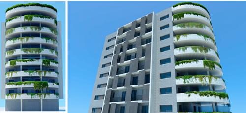 Proyecto edificacion Edificio de 24 viviendas con dos sotanos de garaje y entresuelo, ubicado en Argelia. Con superficies comprendidas entre los 120 y 150 m2 construidos y amplias terrazas. Fachada ventilada de piedra natural y mortero monocapa.