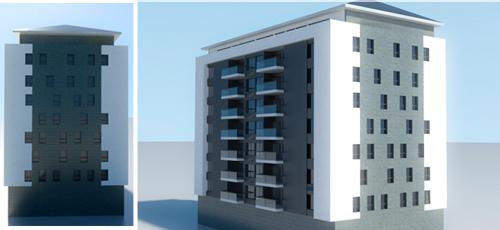 Proyecto edificacion Edificio de 26 viviendas y locales comerciales en planta baja, ubicado en Argelia. Con superficies comprendidas entre los 70 y 90 m2 construidos. Fachada ventilada de piedra natural, mortero monocapa blanco y chapa de aluminio perforada lacada en negro.