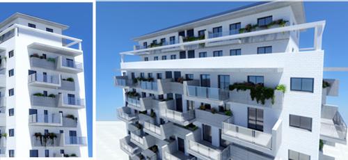 Proyecto edificacion Diseño de edificio de viviendas con cuatro viviendas por planta y ático duplex de 8 alturas y centro comercial en plantas inferiores. Fachada de ladrillo caravista blanco, hormigón visto y barandillas de vidrio