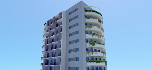 Render Edificio de viviendas con amplias zonas aterrazadas con jardineras de plantas colgantes