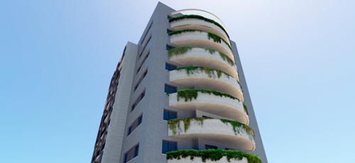 Render de edificio de viviendas con terrazas con jardineras de plantas colgantes y acabados de piedra natural y endoscado blanco