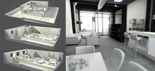 Infografía de interior del estar comedor cocina y secciones en tres dimensiones de la vivienda