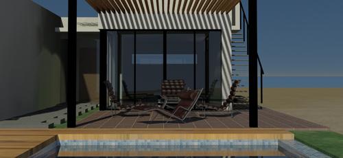 Render de la terraza de una vivienda unifamiliar vista desde la piscina de la vivienda
