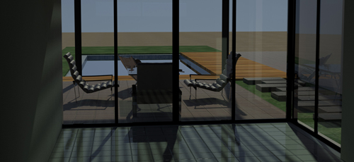 Render de vista interior desde el estar comedor de una vivienda unifamiliar hacia el exterior de la parcela