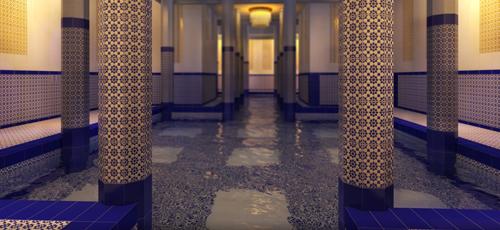 Infografias fotorealisticas del interior de un baño turco