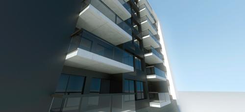 infografia de edificio de viviendas con materiales de enfoscado de cemento blanco aluinio lacado en negro perforado y hormigón visto