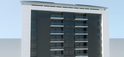 infografía de edificio de viviendas con materiales de enfoscado de cemento blanco y chapa de aluminio perforado