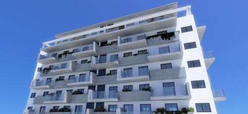 Infografía de viviendas con ático en ultimas plantas con cubierta a cuatro aguas y acabados de ladrillo caravista blanco balcones de hormigón visto y barandillas de vidrio