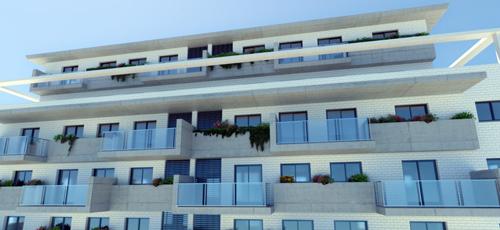 Infografía de edificio de viviendas con aticos en la ultima planta