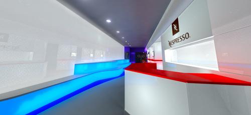 infografía de sala de videojuegos dentro de unos cines para la colocación venta de café