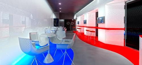 render de interior de cines para la construcción de sala de videojuegos y relax