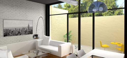 render de salón de interior de vivienda unifamiliar con patio trasero y muebles de estética moderna