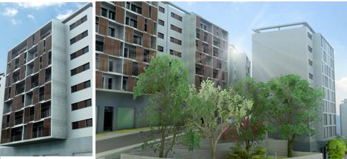 Proyecto edificacion Diseño de urbanización para 8 edificios de 28 viviendas cada uno, ubicados en la ladera de una montaña. Zonas ajardinadas con especies mediterraneas y aprovechamiento de la pendiente para ubicar jardines con vistas hacia el valle