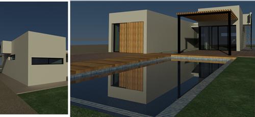 Proyecto edificacion Vivienda unifamiliar desarrollada en una única planta con una superficie construida 110 m2, con jardín y piscina. Compuesta por dos volúmenes separados por el vestíbulo de entrada a modo de nexo de unión. Fachada de enfoscado pintado en blanco.