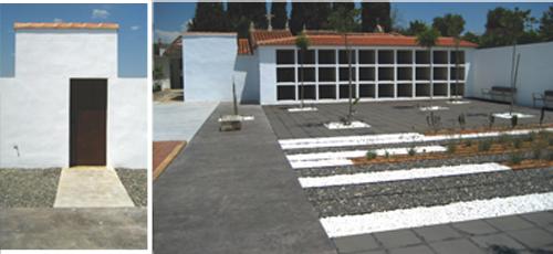 Proyecto edificacion Pavimentación y ajardinamiento de zona peatonal interior. Pavimento de granito blanco perla acabado flameado y baldosa cerámica negra. Jardin con especies mediterraneas