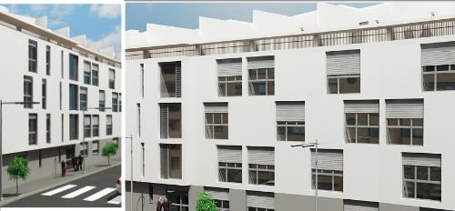 Proyecto edificacion Edificio de 43 viviendas en esquina, con dos plantas de sotano de garaje