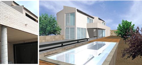 Proyecto edificacion Vivienda de planta baja más dos alturas. Fachada de ladrillo caravista blanco y carpinteria lacada en gris. Cubierta inclinada a dos aguas de teja cerámica.